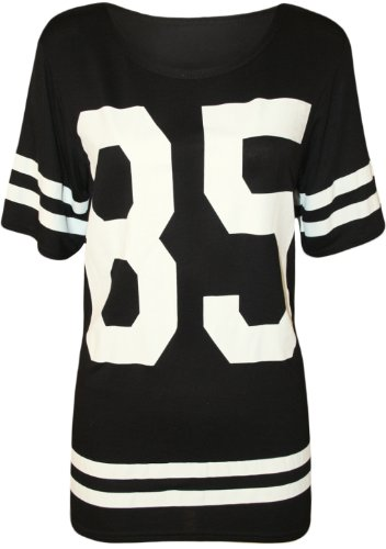 WearAll - Damen '85' Druck Kurzarm Baseball Trikot T-Shirt Top - Schwarz - 36-38 (Top Trikot)