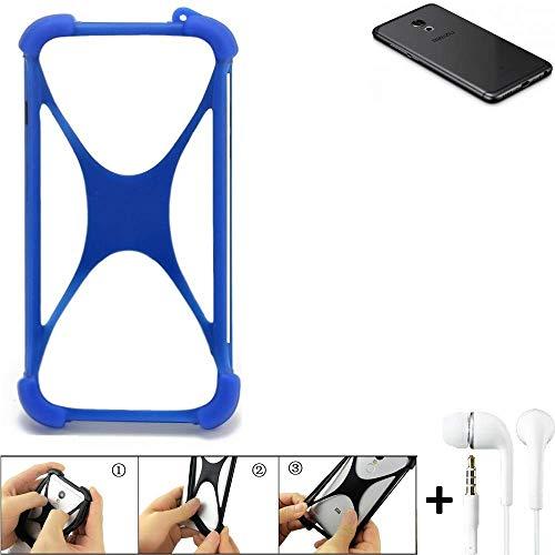 K-S-Trade Handyhülle Meizu Pro 6S Bumper Schutzhülle Silikon Schutz Hülle Cover Case Silikoncase Silikonbumper TPU Softcase Smartphone, Blau (1x), Headphones