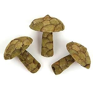 Naturosphère - Décoration naturelle - Champignons décoratifs fabriqués en pana - Lot de 3