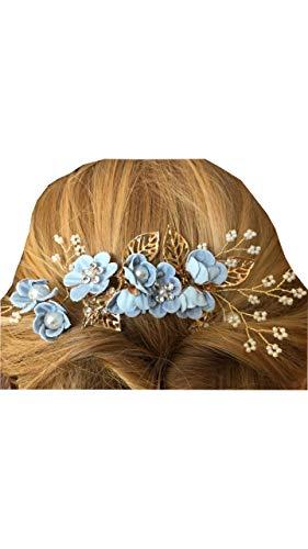 Spilla per capelli BLU con foglie e perle