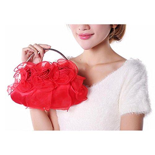 Femmina Classico Fiore Borsa Festa Borsa Da Sposa Borsa Di Pizzo Moda Borsa Da Sera Casual Elegante Red