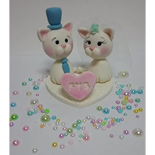 figuras kawaii porcelana fria Personalizados de la torta para la boda, boda, adorno para boda, Novios Gato -Gata Pastel, Figuras de novios de la tarta hecha a mano