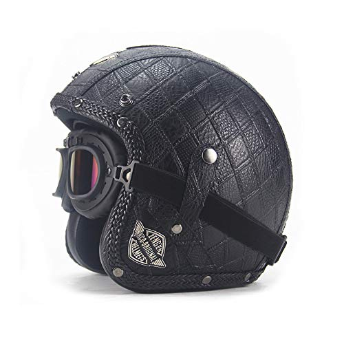 EODUDO-S Persönlichkeit Retro Motorrad Harley Helme Mit UV Anti-Fog Brille ATV Dirt Bike Solid Helm, Weitere Stile (Größe : L(59-60cm))