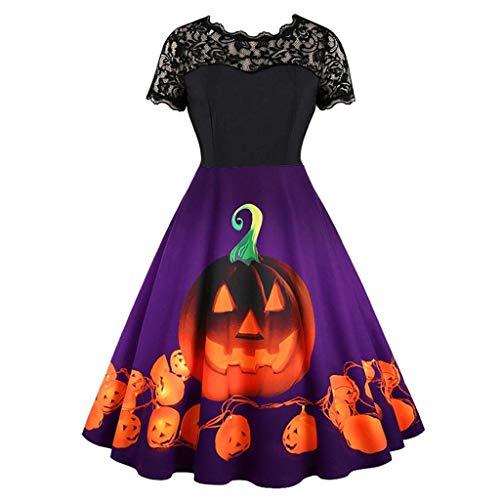 Schöne Kleider mit Kürbis Drucken Damen,Spitzekleid 1950er Vintage Cocktailkleid Rockabilly,Einfache Halloween Kostüm,Hausfrau Schwingen Kleid Faltenrock-Ballkleid-URIBAKY