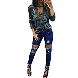 Rosennie Fashion Women Long Sleeve Hollow Shirt Slim Casual Blouse Camouflage Print Tops