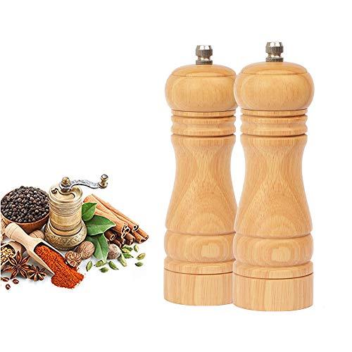 BeIM Salz und Pfeffermühle 2er Set Holz Gewürzmühle Keramikmahlwerk Salzmühle, H 16.5cm