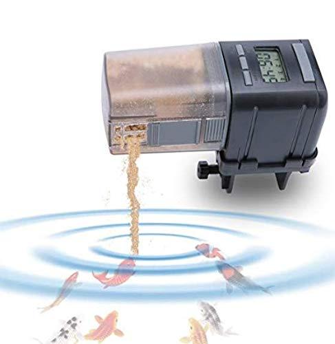 Wokee Automatisierte Futterspender für Fische,Digital LCD Auto Feeder,16.5x5x6.5cm,Schwarz