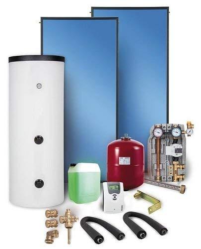 Solaranlage Komplettpaket Warmwasser Flachkollektoren 10,04m² Solarspeicher 500 l Solar