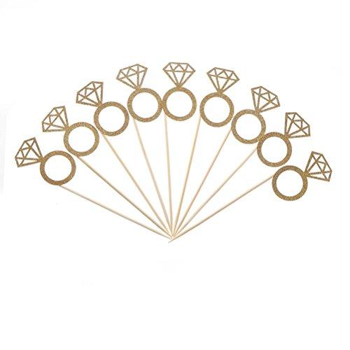 10/Tasche Gold Glitzer Diamant Ring Cupcake Topper Hochzeit Tortenaufsatz Decor Hochzeit Geburtstag Party Supplie