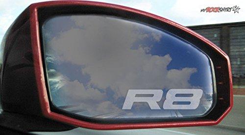 2 x R8 Logo silber für Außenspiegel Spiegel Scheibe Glas Milchglas Frost Frostfolie Effekt Frost Milch Gravur Aufkleber aus Hochleistungsfolie für alle glatten Flächen von myrockshirt®