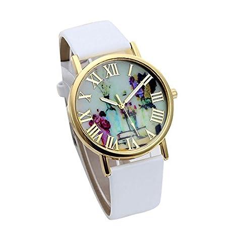 Atdoshop(TM) Women Fashion Vases Dial Leather Band Quartz Analog Wrist Watches White