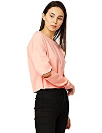 Miss Chase Women's Pink Cut-Out Sweatshirt