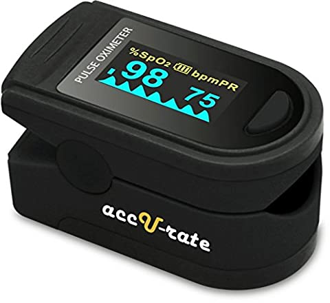 Acc U Rate Pro Series DELUXE CMS 500D Finger Pulse Oximeter Blood Oxygen Saturation Monitor with silicon cover, batteries and lanyard (Jet Black)