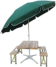 Amaze Aluminium Alloy Table Umbrella Stand with Wooden Top (Green)