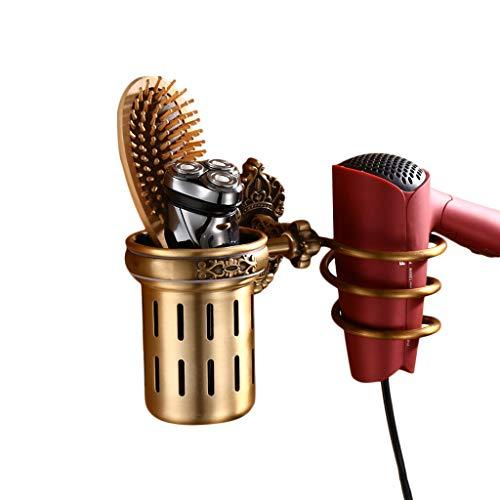 LAAN Wandhalterung Spiral Haartrockner Halter, Fön-Rack mit Cup - Hair Blower Rack - Space Aluminium, für Badezimmer Waschraum (Wand-berg-cup)