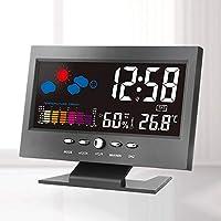 FairytaleMM Electrónico Digital LCD Temperatura Humedad Monitor Reloj Termómetro Higrómetro Electrónico Interior Casa Pronóstico ...