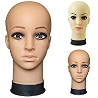 D-SYANA8 Mannequin Model Training Head, Cosmetology Training Bald Mannequin Head Stand Model, for Hair Extension Wig Making Cap Display Stand Hair Wigs Salon