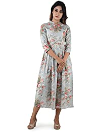 ANAYNA Women's Cotton Printed Long Pleated Dress In Blue Grey Color.