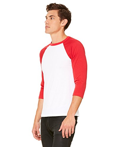 Delifhted Adult 3/4 Sleeve Blended Baseball Tee White/Red