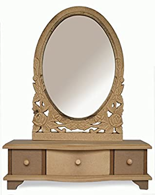 Dressing Table Mirror with Drawers UNFINSHED