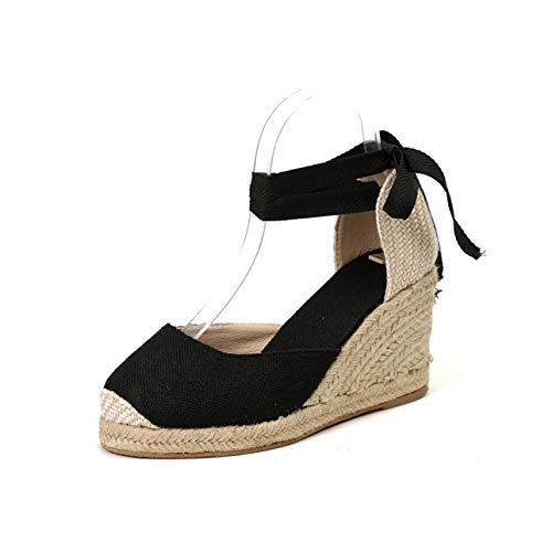 2019 Hot Wedges Sandals Bohemia Woman Sandals Summer Shoes Women Platform Sandals Lace Up Chunky High Heels Sandalias Mujer 43 Black 8 -
