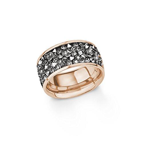 s.Oliver Damen-Ring IP Rose Swarovski Edelstahl Kristall grau Gr. 54 (17.2) 2015142