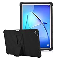 huawei mediapad m5 lite 10.1 inch Black Shock Absorbent Silicone Case with stand Cover