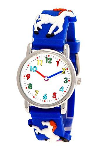 Pure Time® Kinder-Uhr Mädchen-Uhr für Kinder Silikon-Kautschuk Armband-Uhr Uhr mit 3d Pferden Pony Motiv Blau