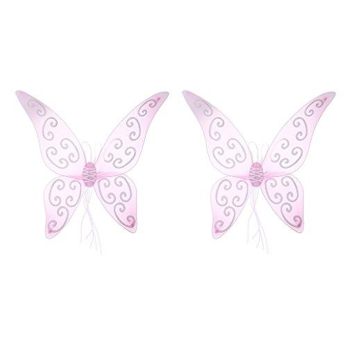 (Baoblaze 2 Stück Erwachsenen Kind Glitter Rosa Feenflügel Fee Flüge Schmetterling Engel Fee Flügel Party Kostüm Cosplay Kostüm)