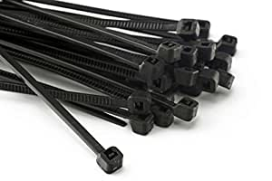 100 Stück Kabelbinder 200mmx2,5mm für Schattiernetz Zaunblende Zaun in schwarz