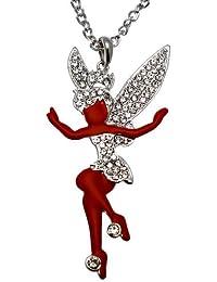 Acosta - grande de esmalte rojo y hada - collar de cristal claro (color plata) - caja de regalo