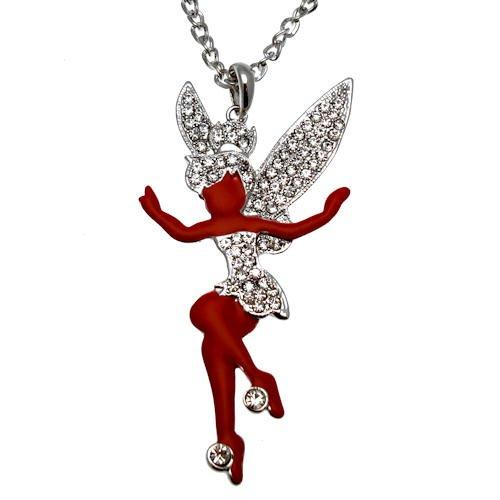 Acosta Großer Rot Emaille & Kristall klar-Fairy Halskette (Silber)-in Geschenkverpackung (Teenage Kostüm Schmuck)