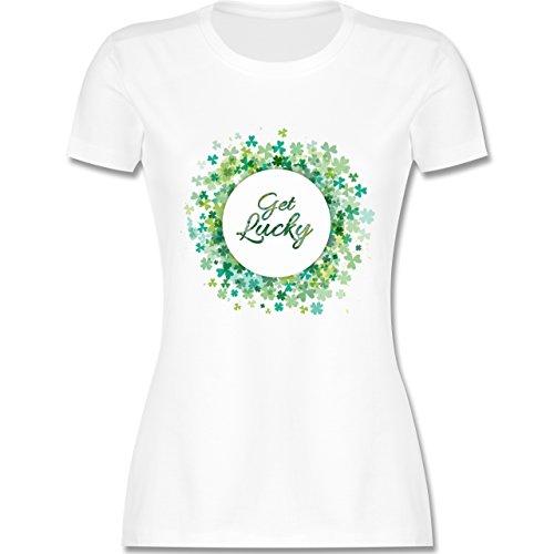 St. Patricks Day - Get Lucky Kleeblatt Glück - S - Weiß - L191 - Damen T-Shirt ()