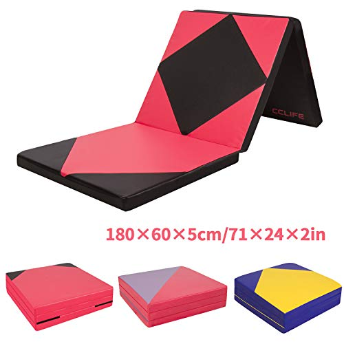 CCLIFE 180x60x5cm Weichbodenmatte Turnmatte Klappbar Gymnastikmatte Farbauswahl, Farbe:Schwarz & Rot A