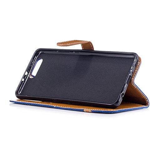 Custodia per Huawei P10 Plus, ISAKEN Flip Cover per Huawei P10 Plus con Strap, Elegante Bookstyle Contrasto Collare PU Pelle Case Cover Protettiva Flip Portafoglio Custodia Protezione Caso con Support Marrone+blu