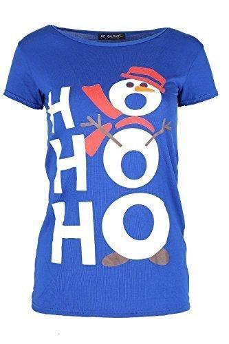 Damen Weihnachten T-shirt Damen Langärmlig Weihnachten Weihnachtsmann Kostüm Jerseykleid Top Ho Ho Schneemann Königsblau