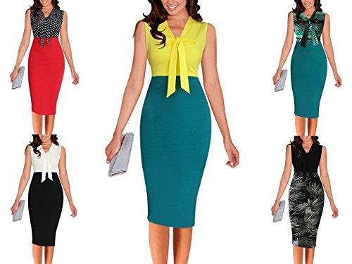 Smile YKK Eté Robe Crayon Pin Up Femme Coton Sans Manche Nœud de Papillon Cocktail Mariage Bureau Vert