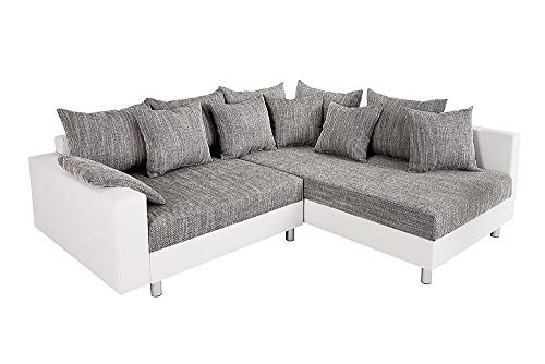Invicta Interior Design Ecksofa LOFT weiß Strukturstoff grau Sofa OT beidseitig aufbaubar