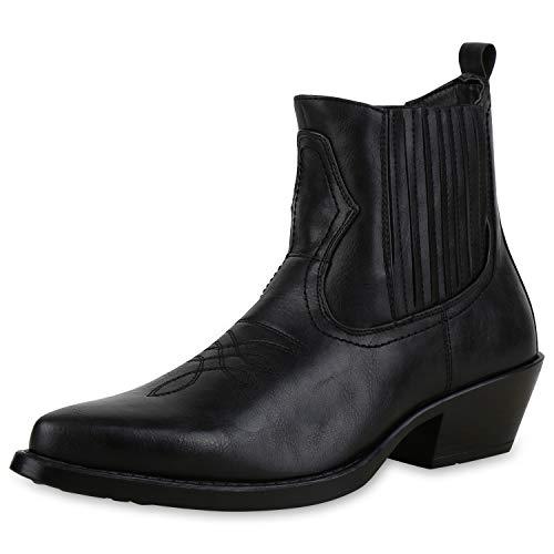 SCARPE VITA Herren Cowboy Boots Western Stiefel Spitze Schuhe Holzoptikabsatz 172486 Schwarz 42 - Männer Western-stiefel