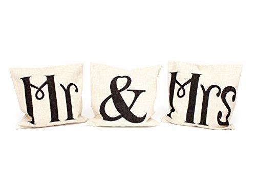 Kissenbezüge 3er Set Ino 40x40cm Kissenhülle Mr & Mrs Valentinstag Leinen Schriftzug vintage shabby Kissen Dekokissen