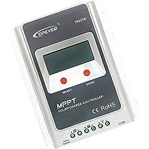 MagiDeal 10/20/30/40A MPPT Regulador de Carga Solar Regulador Batería Max100V Entrada 12V/24V - 40A
