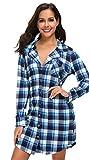 NORA TWIPS Nachthemd Damen Nachtkleid warm Lang Herbst Winter Schlafkleid Langarmshirt Schlafshirt(Grau,XL)