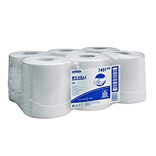 WypAll 7491 L10 Extra+ Wiper Centrefeed Roll Control, White, One Ply Sheets, 6 Rolls x 400