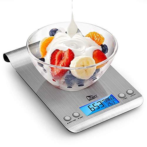 Uten Digitale Küchenwaage, ultradünn, multifunktional, Edelstahl, 11 lb/5 kg, LCD-Display mit Hintergrundbeleuchtung, 2 Batterien im Lieferumfang enthalten, 9,25 x 16,5 x 2,0 cm