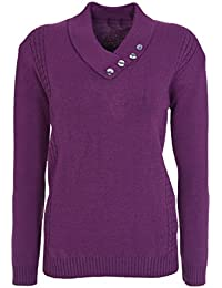 Lets Shop Shop New Womens Ladies Button Collar Long Sleeve Top Knitted Jumper  Pullover Sweater Plus 19b7ffd55