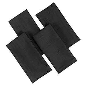 Premier 17 x 17-inch Linen Look Napkins, Pack of 4, Black
