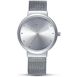 Time100 Fashion Ultrathin Case Dial White Steel Band Men Quartz Watch #W50199G.03A