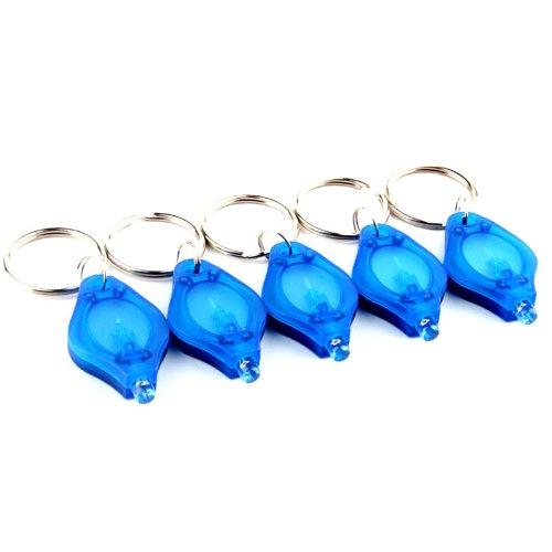 , 10 Stück 1300MCD Mini LED Taschenlampe Lampe Schlüsselanhänger mit blauem Licht