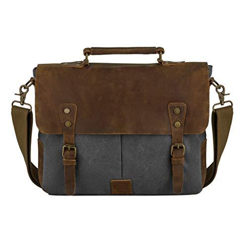 WSJTT Canvas Ledertasche, Herren Laptop Schulter Canvas Messenger Bag Wasserdichte Computer Aktentasche Notebook Vintage Satchel Designer Schule Arbeit Taschen ()