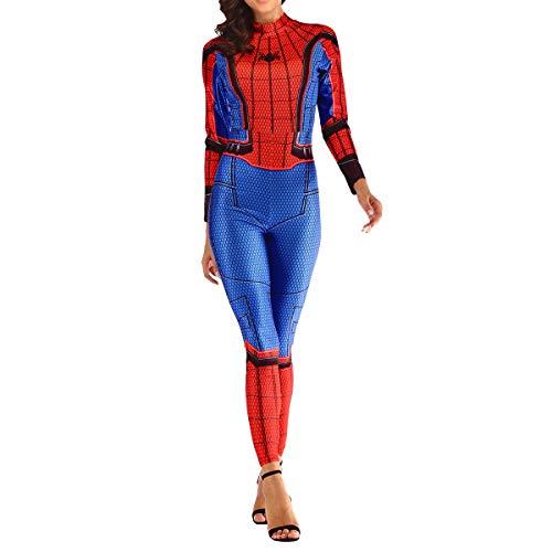 QQWE Spiderman Bodysuit Spandex Jumpsuits für Frauen Der Erstaunliche Spider-Man Kostüm Frauen Weihnachten Halloween Show Cosplay Kostüm,A-L